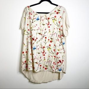 Simply Be cream top with floral and bird print
